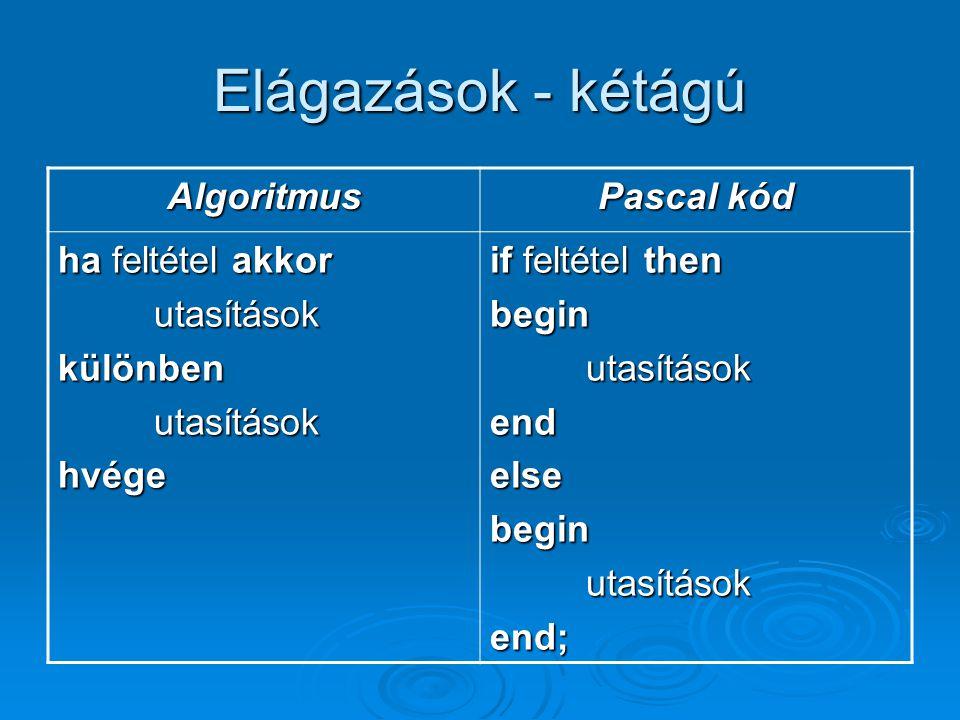 Elágazások - kétágú Algoritmus Pascal kód ha feltétel akkor utasítások