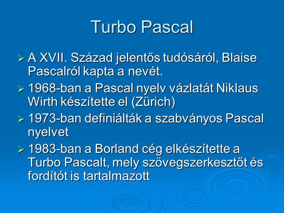 Turbo Pascal A XVII. Század jelentős tudósáról, Blaise Pascalról kapta a nevét.