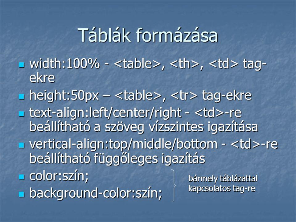 Táblák formázása width:100% - <table>, <th>, <td> tag-ekre. height:50px – <table>, <tr> tag-ekre.