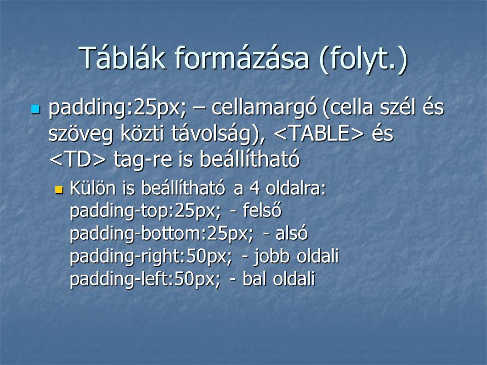 Táblák formázása (folyt.)