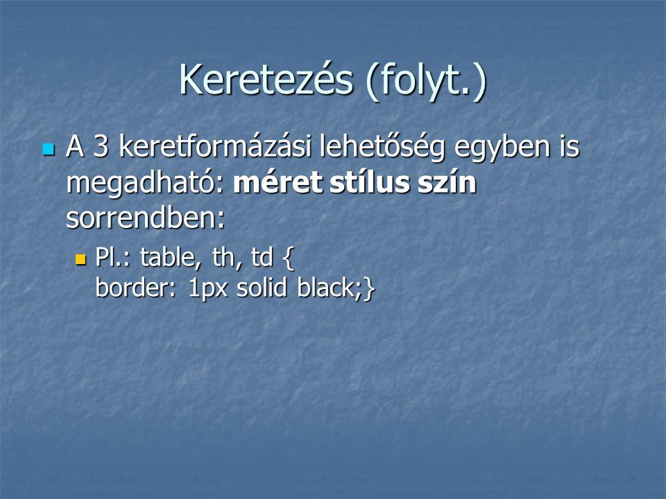 Keretezés (folyt.) A 3 keretformázási lehetőség egyben is megadható: méret stílus szín sorrendben: Pl.: table, th, td { border: 1px solid black;}