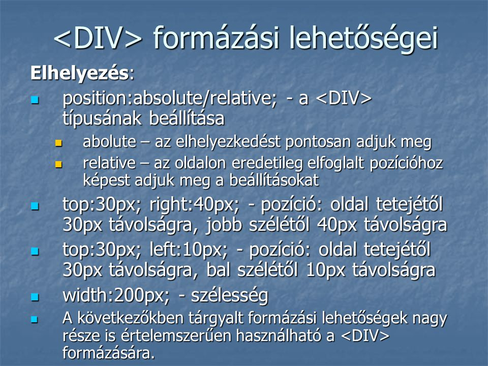 <DIV> formázási lehetőségei