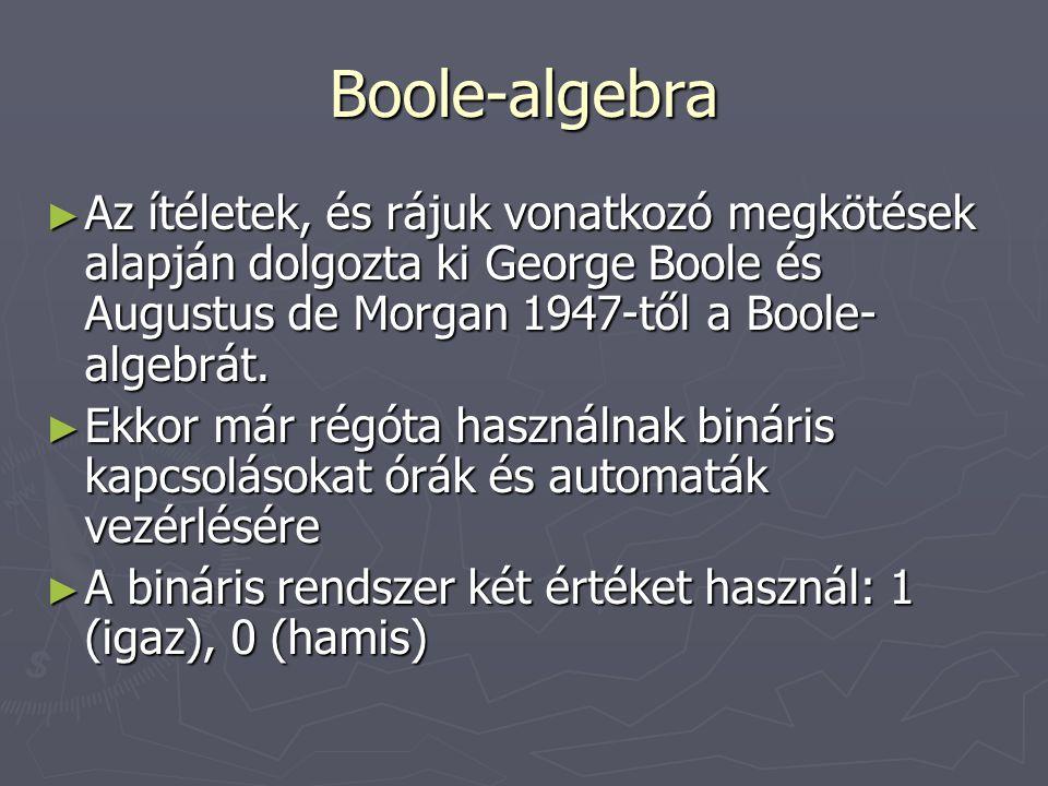 Boole-algebra Az ítéletek, és rájuk vonatkozó megkötések alapján dolgozta ki George Boole és Augustus de Morgan 1947-től a Boole-algebrát.