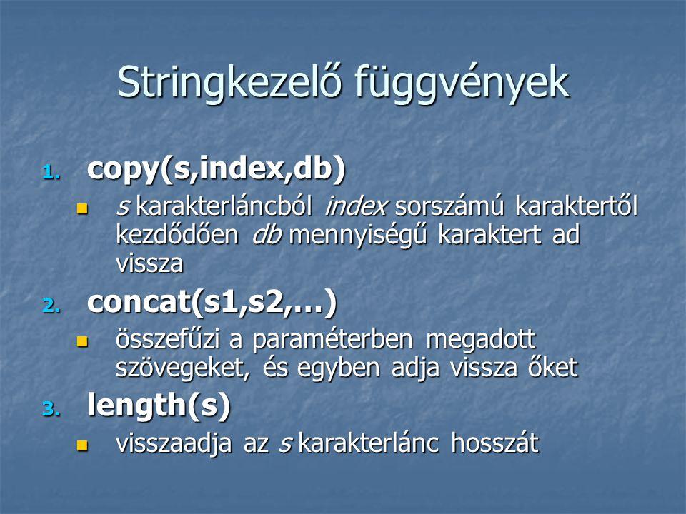 Stringkezelő függvények