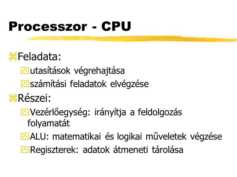 Processzor - CPU Feladata: Részei: utasítások végrehajtása
