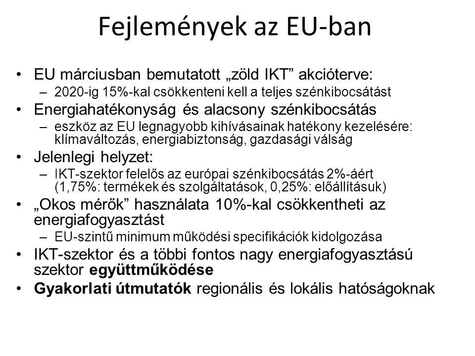 """Fejlemények az EU-ban EU márciusban bemutatott """"zöld IKT akcióterve:"""