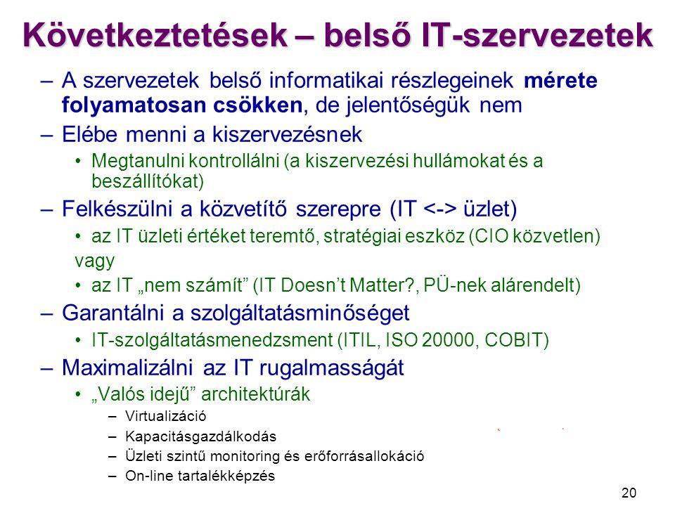 Következtetések – belső IT-szervezetek