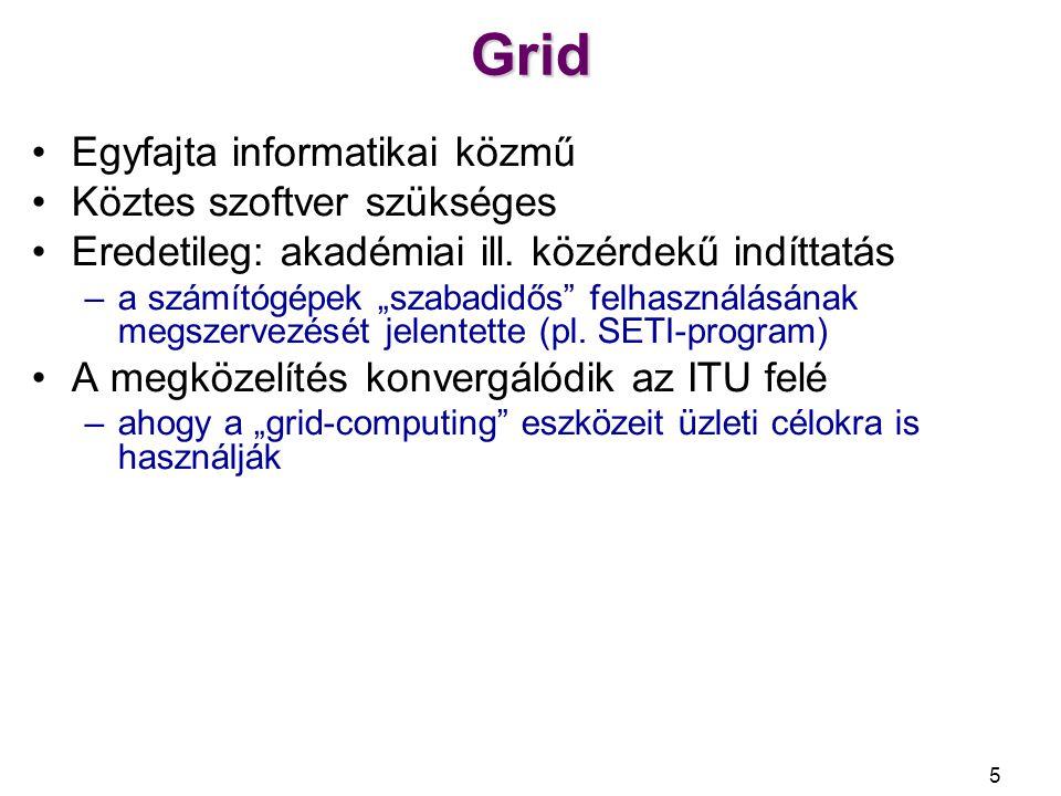 Grid Egyfajta informatikai közmű Köztes szoftver szükséges