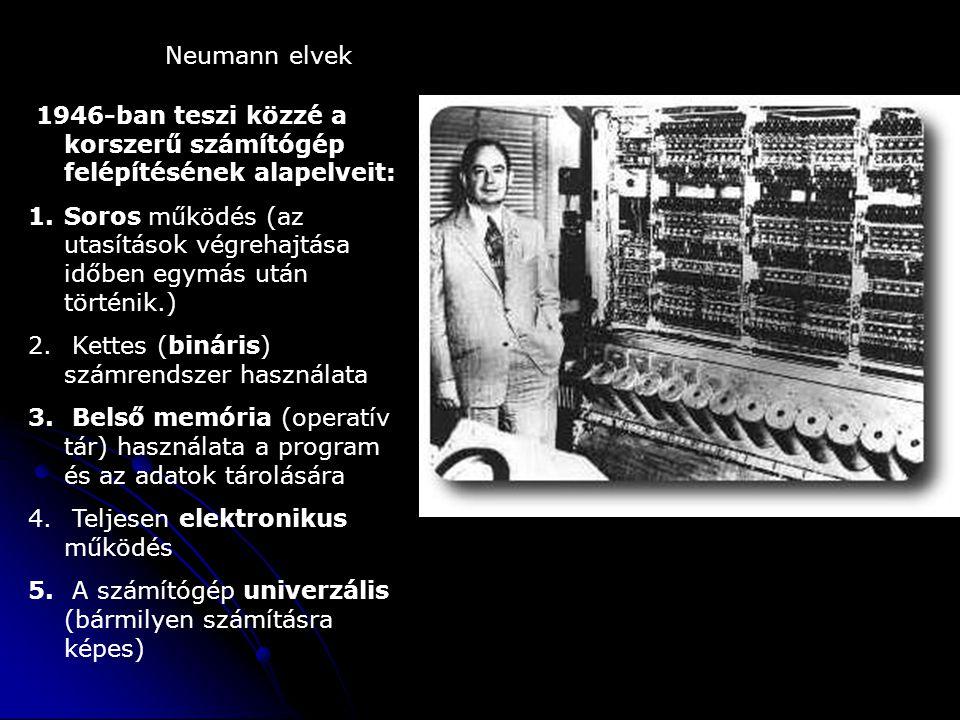 Neumann elvek 1946-ban teszi közzé a korszerű számítógép felépítésének alapelveit: