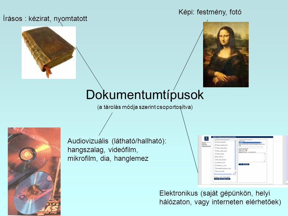 Dokumentumtípusok (a tárolás módja szerint csoportosítva)