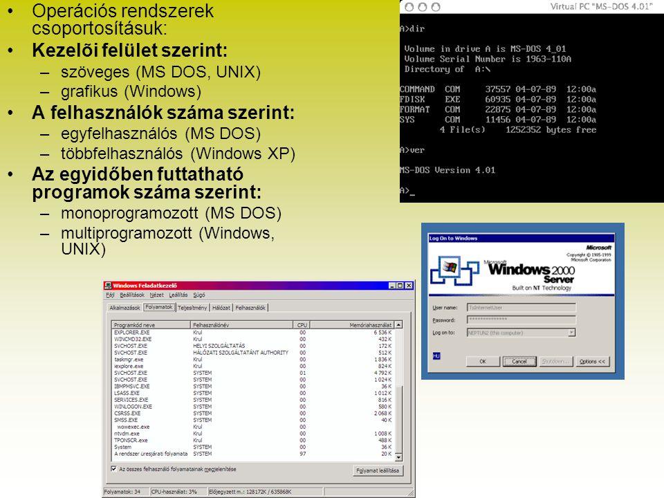 Operációs rendszerek csoportosításuk: Kezelõi felület szerint: