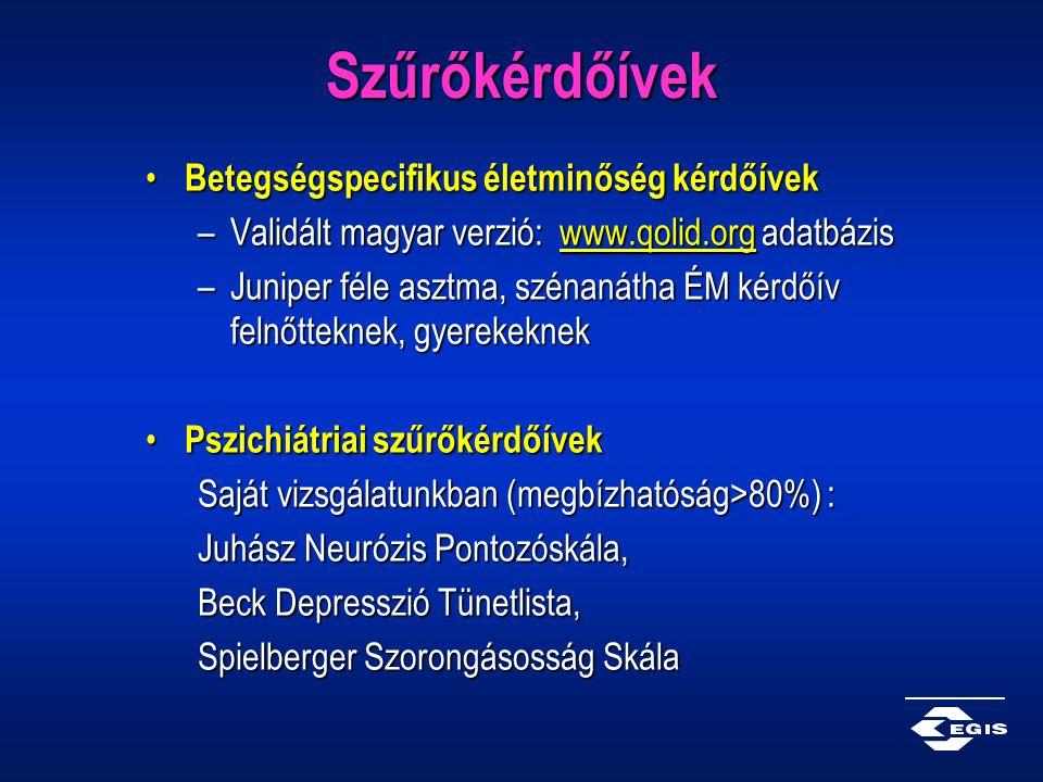 Szűrőkérdőívek Betegségspecifikus életminőség kérdőívek