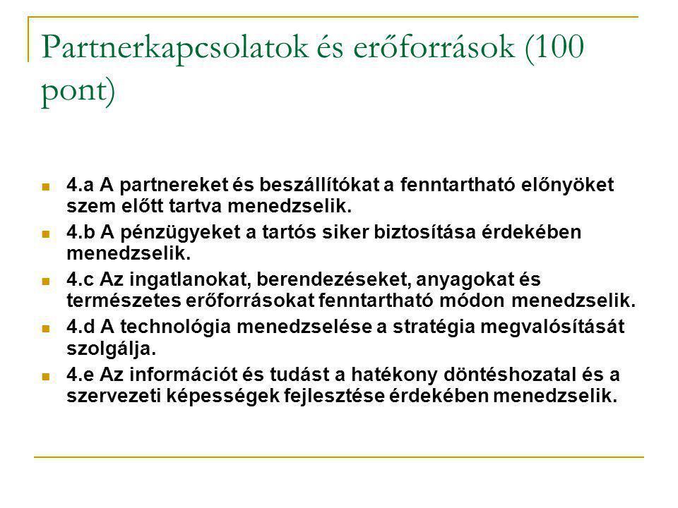 Partnerkapcsolatok és erőforrások (100 pont)