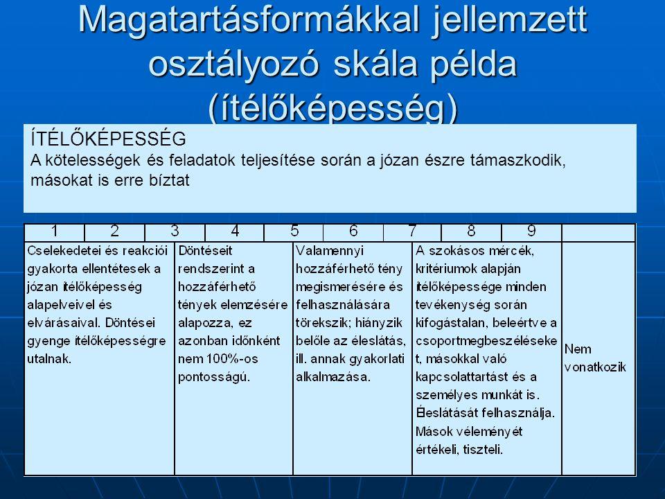 Magatartásformákkal jellemzett osztályozó skála példa (ítélőképesség)