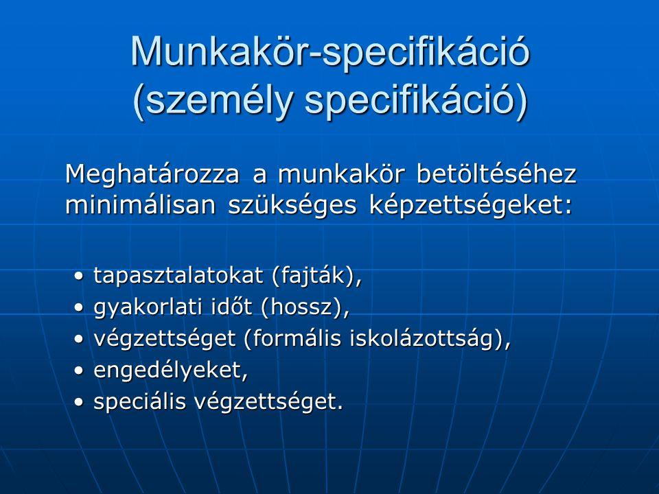 Munkakör-specifikáció (személy specifikáció)