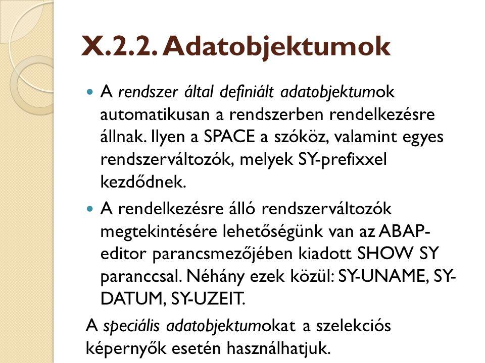X.2.2. Adatobjektumok