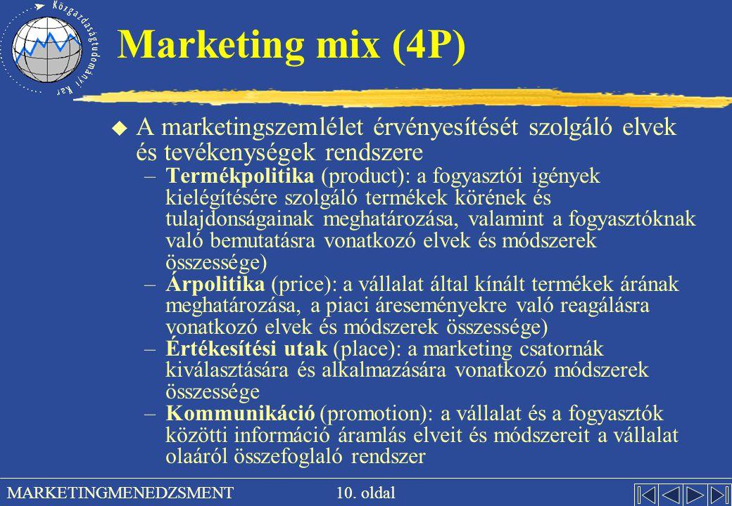 Marketing mix (4P) A marketingszemlélet érvényesítését szolgáló elvek és tevékenységek rendszere.