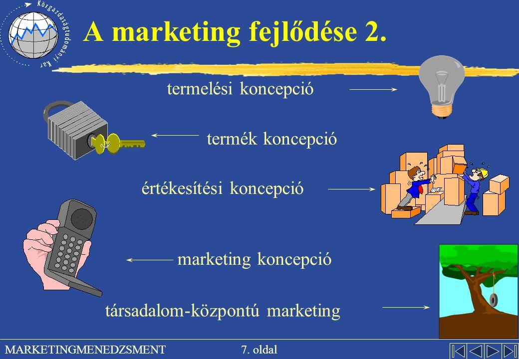 A marketing fejlődése 2. termelési koncepció termék koncepció