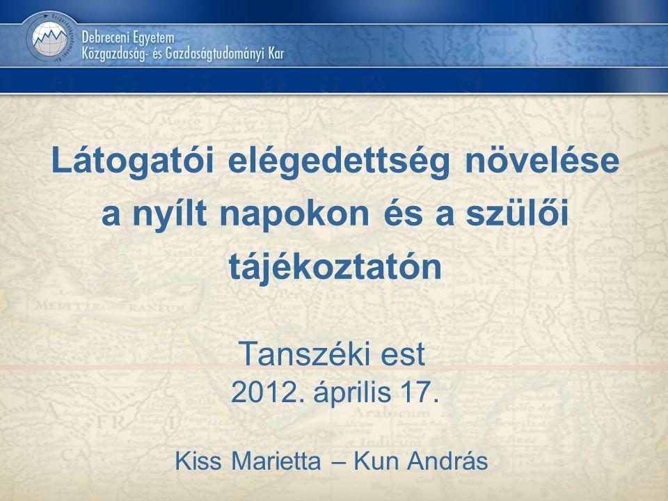 Tanszéki est 2012. április 17. Kiss Marietta – Kun András
