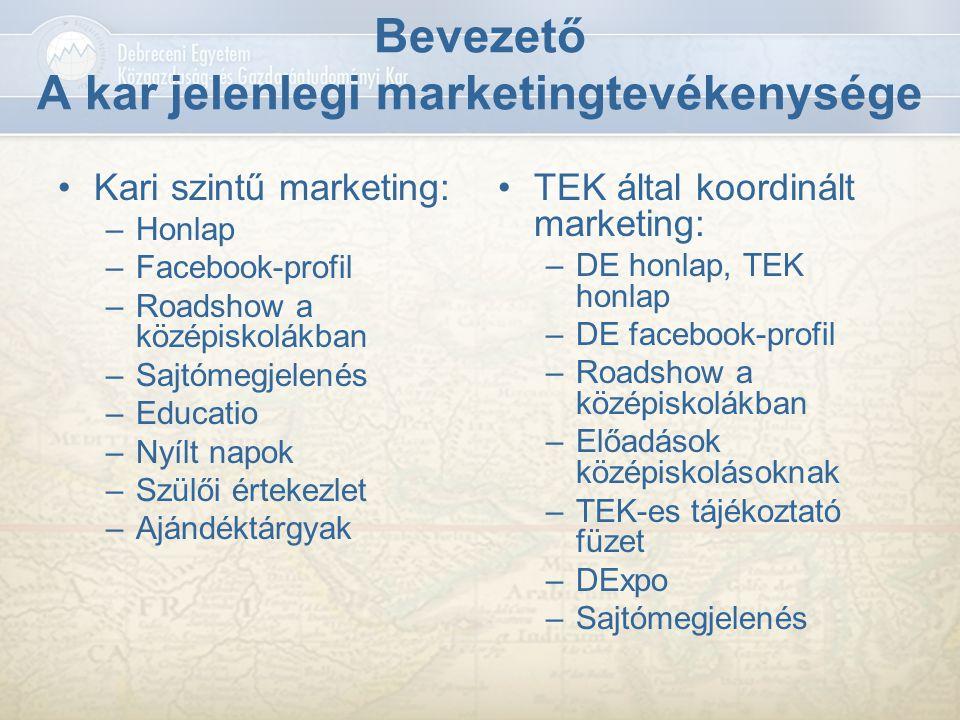 Bevezető A kar jelenlegi marketingtevékenysége