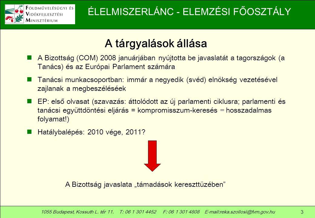 A tárgyalások állása A Bizottság (COM) 2008 januárjában nyújtotta be javaslatát a tagországok (a Tanács) és az Európai Parlament számára.