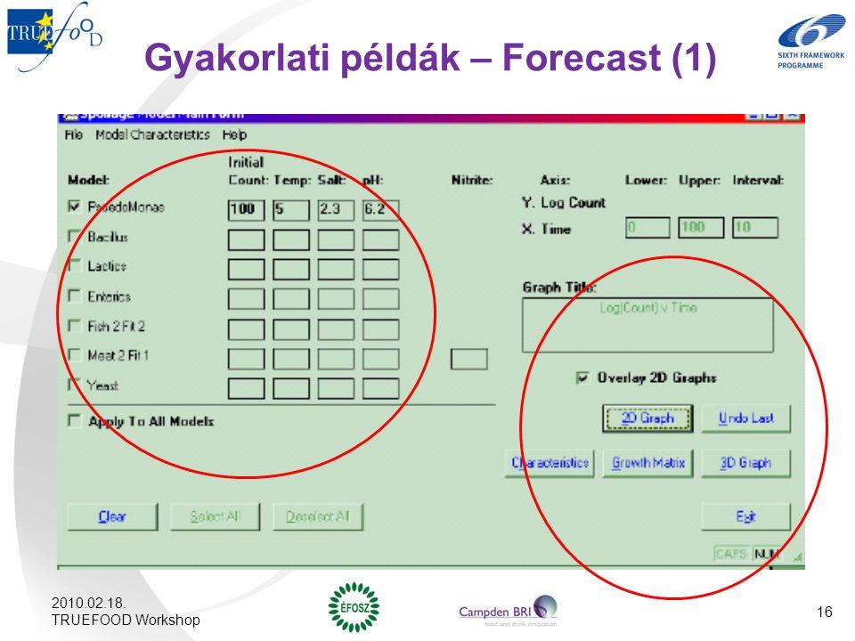 Gyakorlati példák – Forecast (1)