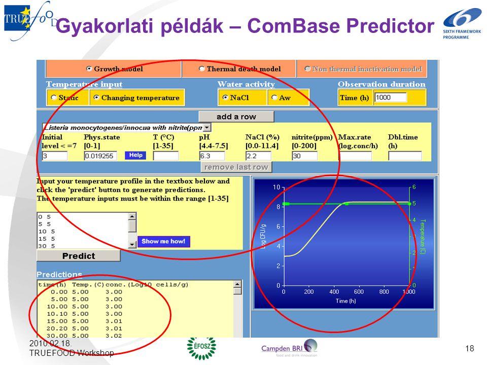 Gyakorlati példák – ComBase Predictor