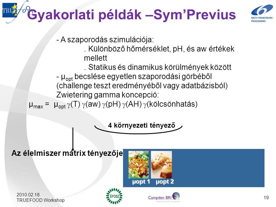 Gyakorlati példák –Sym'Previus