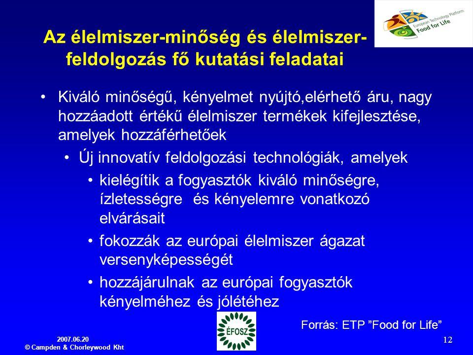 Az élelmiszer-minőség és élelmiszer-feldolgozás fő kutatási feladatai