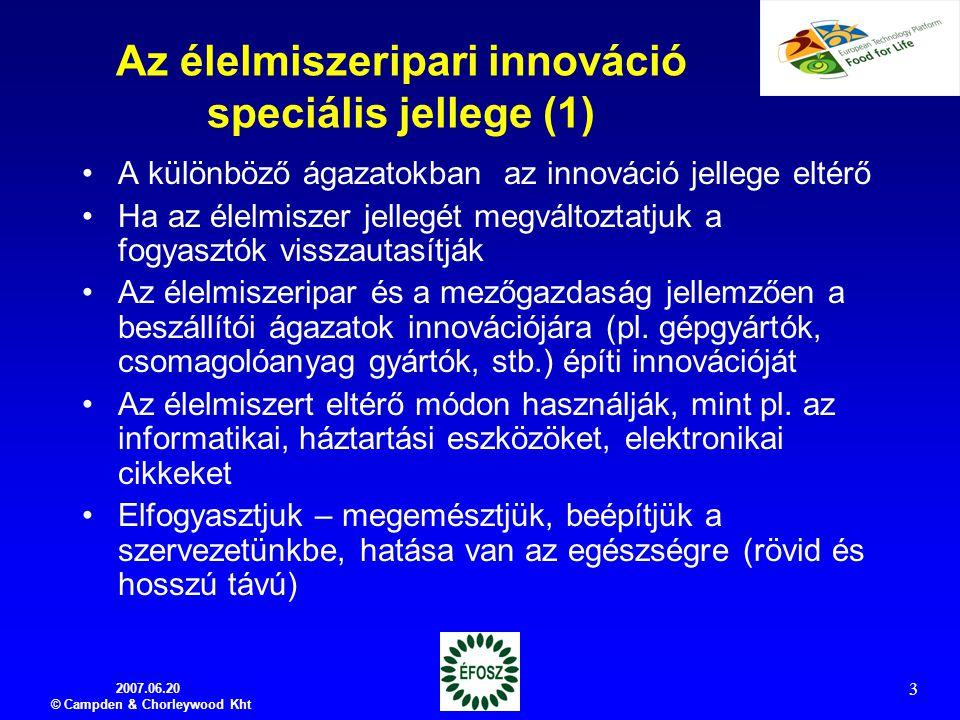 Az élelmiszeripari innováció speciális jellege (1)