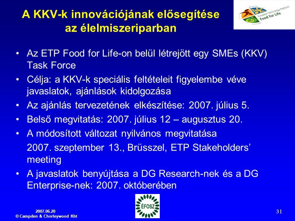 A KKV-k innovációjának elősegítése az élelmiszeriparban