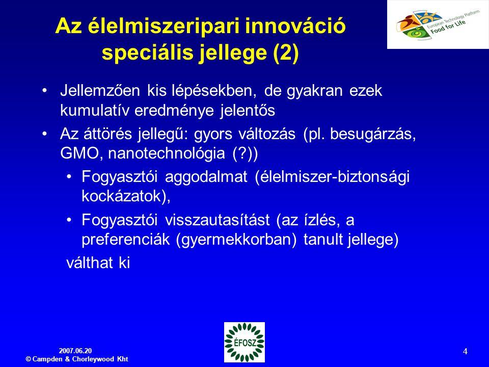 Az élelmiszeripari innováció speciális jellege (2)
