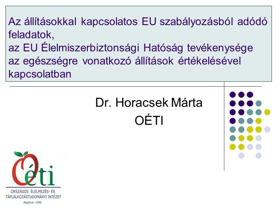 Az állításokkal kapcsolatos EU szabályozásból adódó feladatok, az EU Élelmiszerbiztonsági Hatóság tevékenysége az egészségre vonatkozó állítások értékelésével kapcsolatban