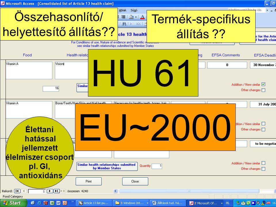 HU 61 EU~2000 Összehasonlító/ Termék-specifikus helyettesítő állítás