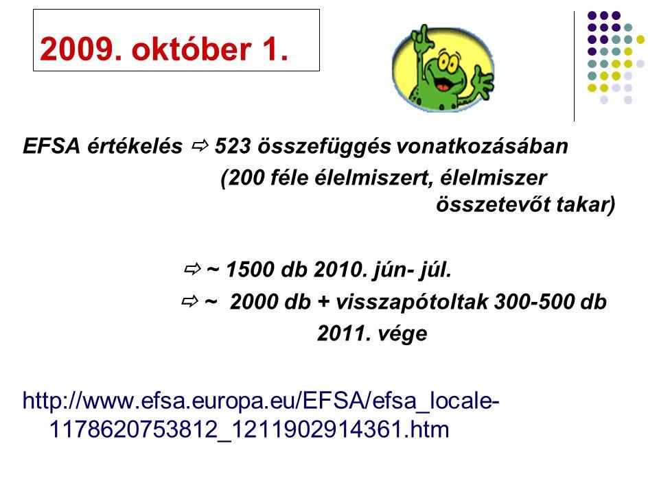 2009. október 1. EFSA értékelés  523 összefüggés vonatkozásában. (200 féle élelmiszert, élelmiszer összetevőt takar)