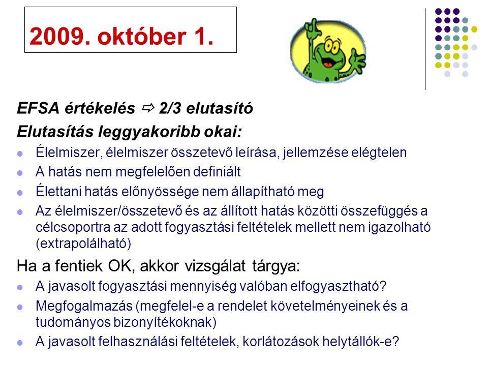 2009. október 1. EFSA értékelés  2/3 elutasító
