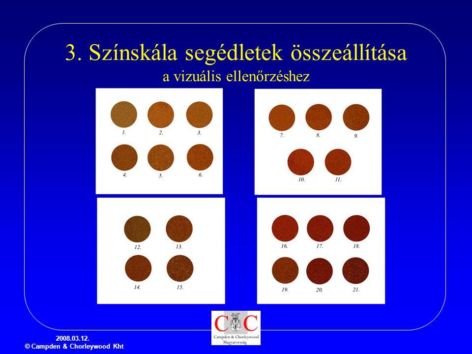 3. Színskála segédletek összeállítása a vizuális ellenőrzéshez