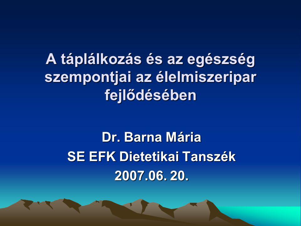 Dr. Barna Mária SE EFK Dietetikai Tanszék 2007.06. 20.