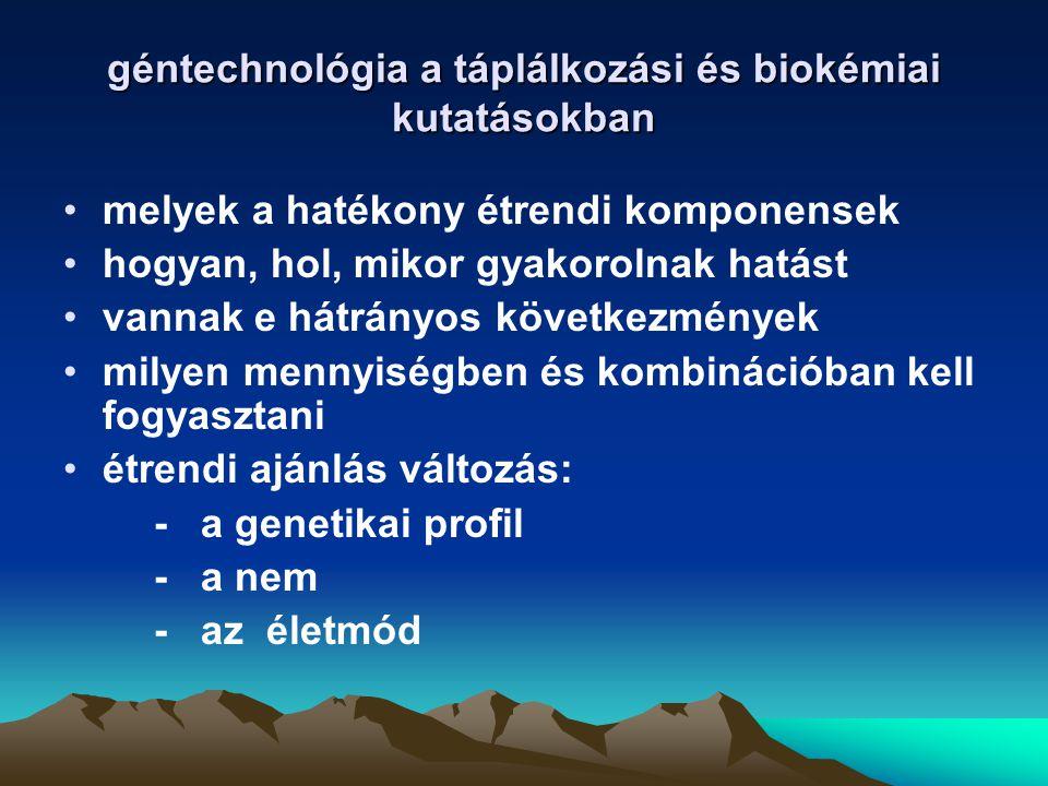 géntechnológia a táplálkozási és biokémiai kutatásokban