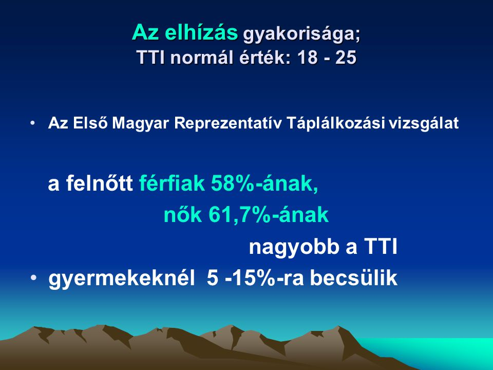Az elhízás gyakorisága; TTI normál érték: 18 - 25