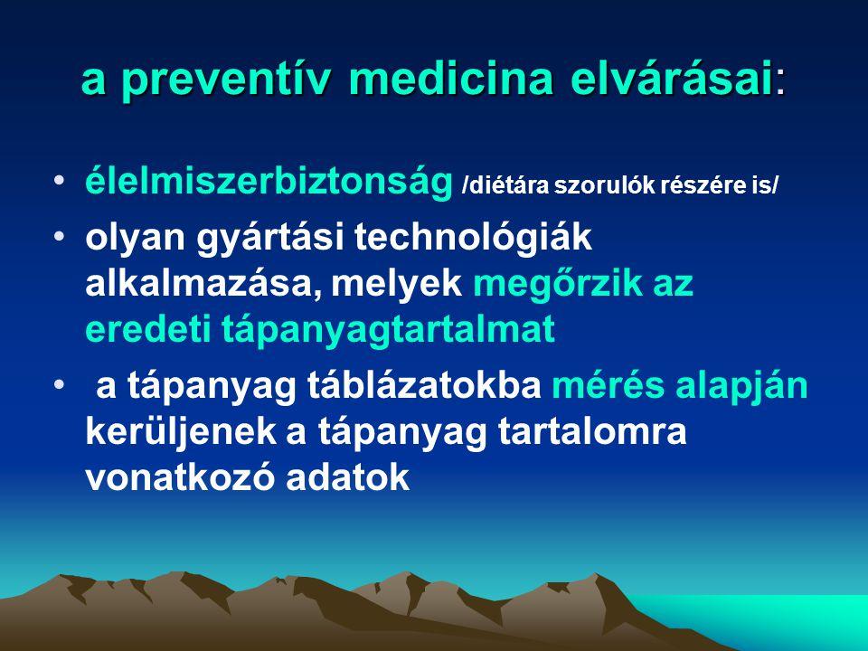 a preventív medicina elvárásai: