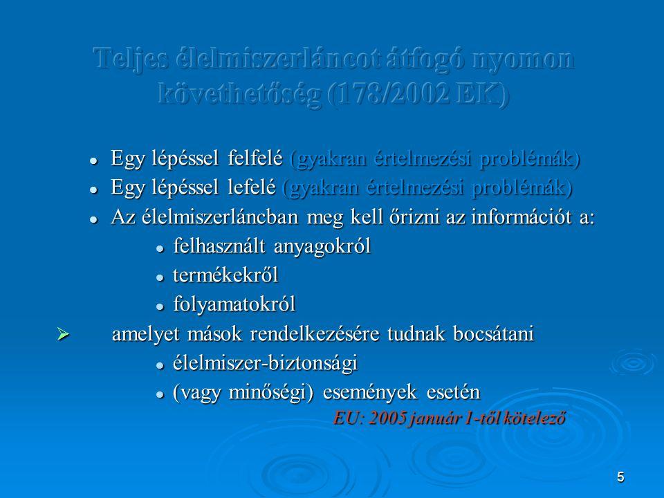 Teljes élelmiszerláncot átfogó nyomon követhetőség (178/2002 EK)