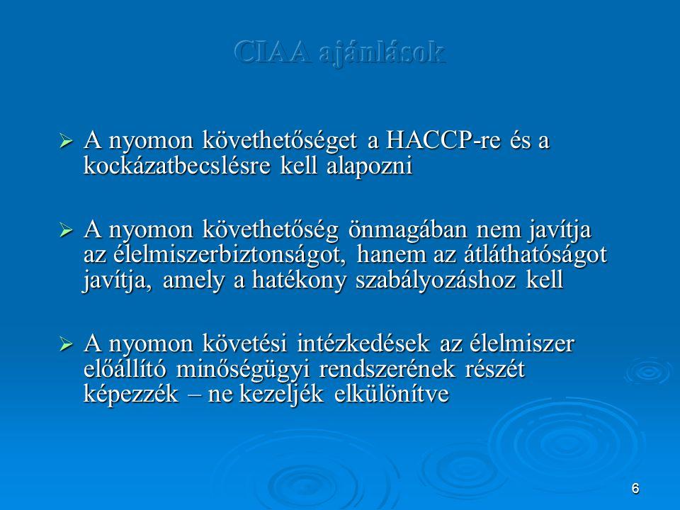 CIAA ajánlások A nyomon követhetőséget a HACCP-re és a kockázatbecslésre kell alapozni.
