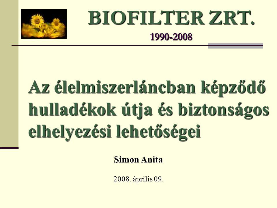 BIOFILTER ZRT. 1990-2008 Az élelmiszerláncban képződő hulladékok útja és biztonságos elhelyezési lehetőségei.