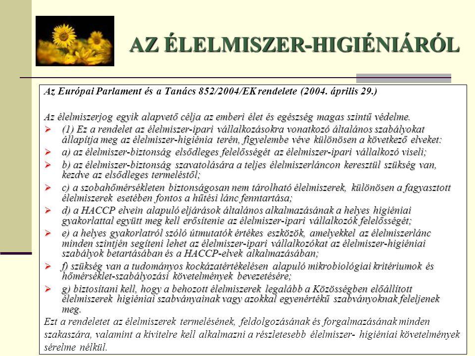 AZ ÉLELMISZER-HIGIÉNIÁRÓL