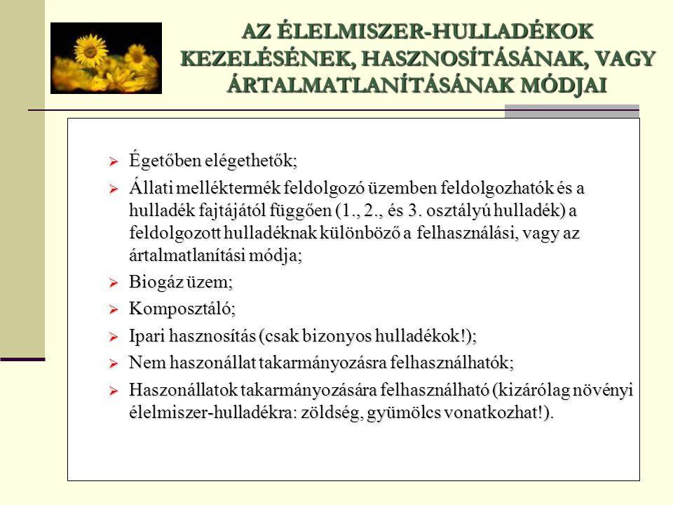 AZ ÉLELMISZER-HULLADÉKOK KEZELÉSÉNEK, HASZNOSÍTÁSÁNAK, VAGY ÁRTALMATLANÍTÁSÁNAK MÓDJAI