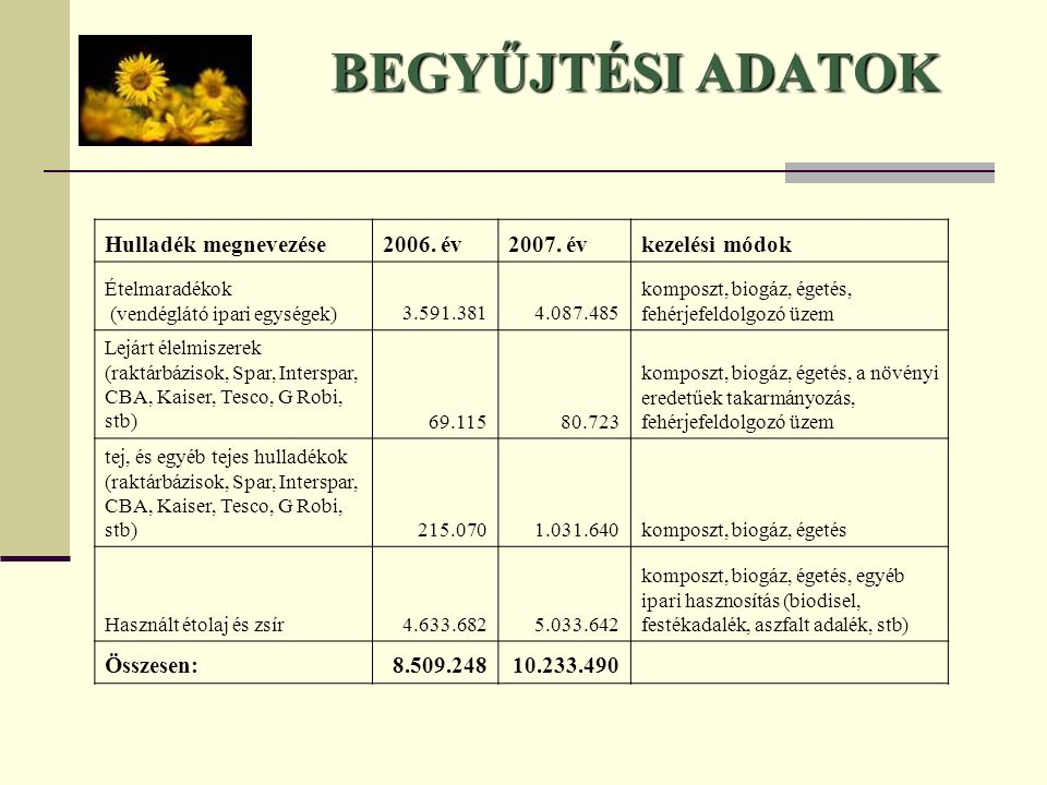 BEGYŰJTÉSI ADATOK Hulladék megnevezése 2006. év 2007. év