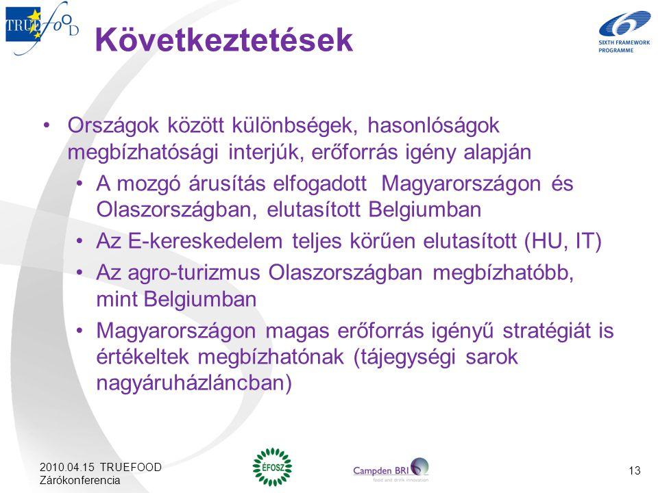 Következtetések Országok között különbségek, hasonlóságok megbízhatósági interjúk, erőforrás igény alapján.