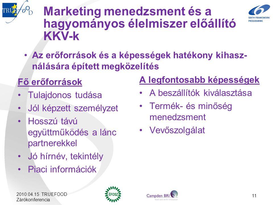 Marketing menedzsment és a hagyományos élelmiszer előállító KKV-k