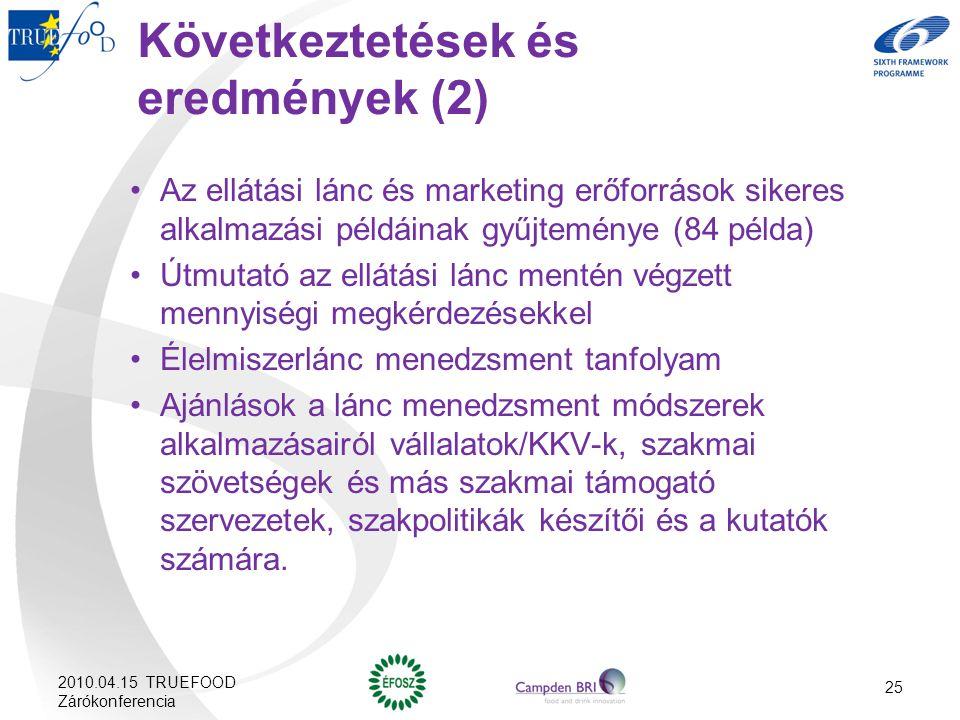 Következtetések és eredmények (2)